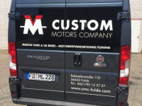 Werbebeschriftug fiat ducato custom motors heck